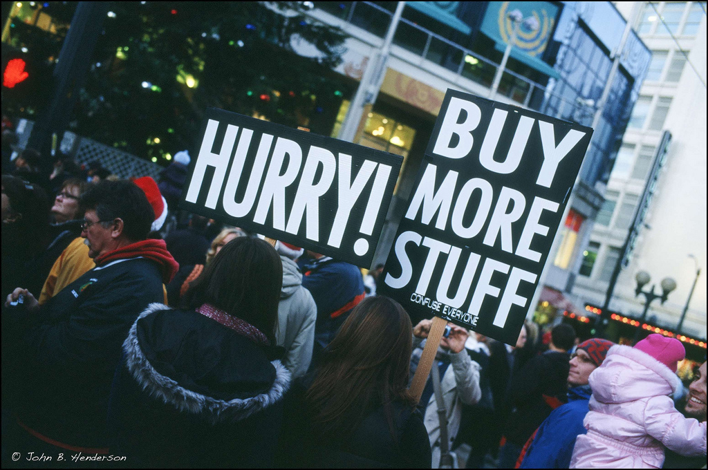 Buy more stuff protest